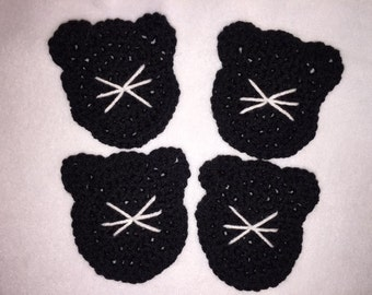 Crocheted Cat Coasters Set Of Four Black With White