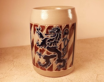 Goebel Beer Stein,  Merkelbach,  West Germany, European Lion Design, Cobalt Blue Salt Glaze, Salzglsur