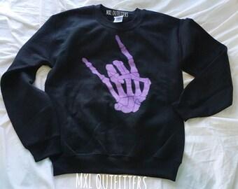 rock and roll skeleton hand crewneck sweatshirt