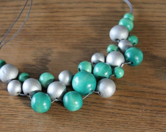 Teal and Silver Beaded Bib Necklace