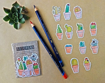 Cactus Stickers - Hand drawn, hand cut, set of 12
