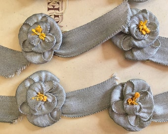 Antique Old Store Stock 1920's Silver Lame Ribbonwork Appliques Ribbon Flower Yellow Stamens Original Card Flapper Boudoir