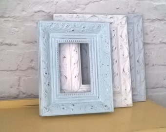 Vintage Modern Style Shabby Chic Picture Frames x 3 Duck Egg Grey White Chalk **MADE TO ORDER**