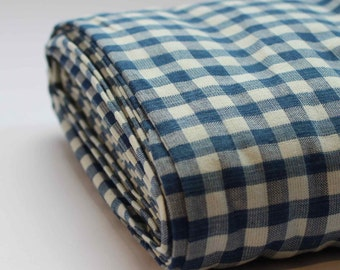 Organic Blue Gingham 100% Cotton Fabric