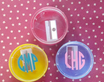 Monogram or personalized back to school pencil sharpners
