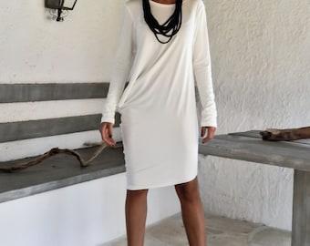 Ivory Asymmetric Blouse - Dress - Tunic  / Ivory Blouse Dress / Asymmetric Oversize Dress / #35106