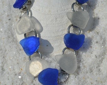 Frosted White and Cornflower Blue Sea Glass Bracelet