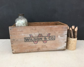 Vintage Wilson & Co Wood Box - Crate - Advertising - Bin - Rustic - Farmhouse - Country - Corned Beef - Prop