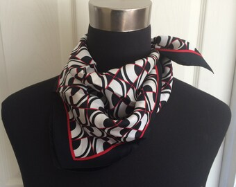 Vintage Geometric Black, Red and White Neckerchief/Scarf - FREE SHIPPING EVERYWHERE