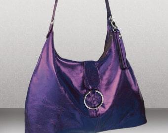Womens Large metallic Purple Italian Hobo, purple bag, purple leather hobo, soft leather bag, premium leather bag, Womens bag, Large hobo