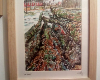 The Woodpile, original framed watercolour painting.