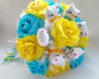 Cute Hello Kitty Bouquet with Ferrero Rocher Candy bouquet. Plush Doll Bouquet