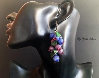 Earrings with berries, Berries jewelry, Food jewelry, Summer berry earrings, irgu earrings