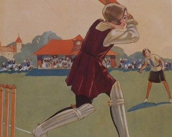 Antique Children's Print - Girl Cricketer - Girl Batting - Hit to the Boundary - Ladies Cricket - 1940's Print - Matted - Ready to Frame