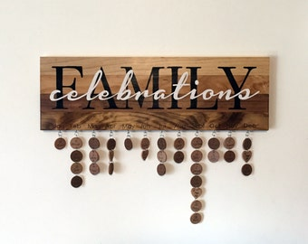 Family Celebrations Sign - Hand Painted - Never Forget a Date Again - Celebrations Calendar