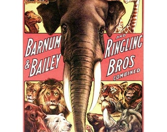 Circus Posters Vintage Animal Show  - Large 18x24 inch Vintage Barnum Bailey Ringling Brothers Circus Print Elephant Lion Tiger
