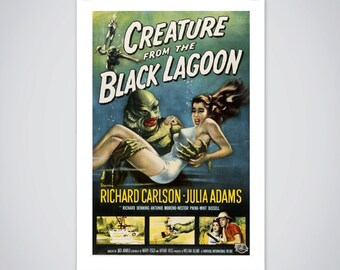 Creature From The Black Lagoon Movie Poster - Vintage Classic Horror Film Print Size 18 x 24 inch