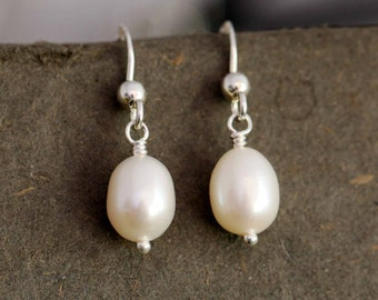 Sterling Silver Dangle Earrings with White Freshwater Pearl Single Drop Cultured Beautiful Luster Bridal Gift with Box