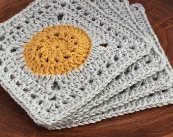 Handmade Square Lacy Crochet Coaster, Set of 4, 100% Cotton, Yellow and Silver, Ready to Ship