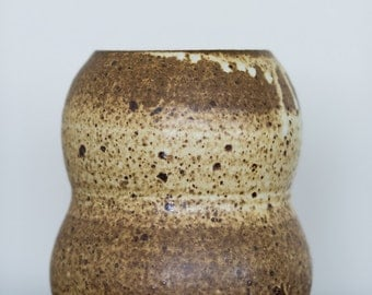 Handmade Yellow Brown Spotted Gourd Shaped Vase