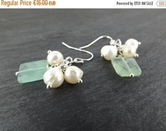 SUMMER SALE Flourite Earrings, Gemstone Earrings, Pearl Cluster Earrings, Mint Green Dangle Earrings, Ivory Freshwater Pearl Earrings, Daint
