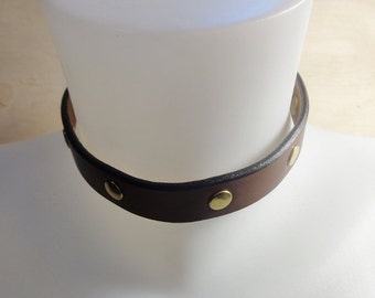 Studded Collar, Brown,Leather Day Collar,Brown Choker,Handmade Leather Collar,BDSM Day Collar,Accessories,Handmade Accessories,Handmade.
