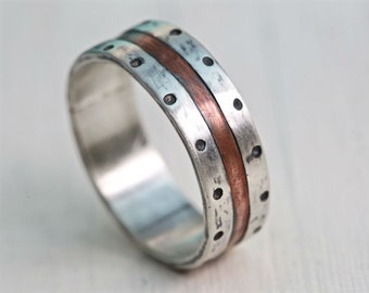 Men's engagement ring, Silver wedding band, rustic silver copper ring, unique silver band , copper ring, Hand made silver band, Studioadama