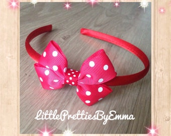 Handmade hair accessories -  Red hairband with polka dot bow - girls hair accessory, hair band, polka dot bows, red hair bows, red polka dot