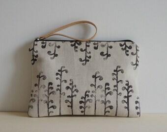 handprinted fabric clutch-design secret gardens