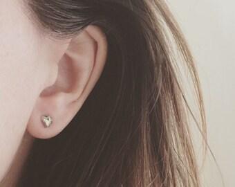 Pyrite fools gold stud earrings sterling silver backs