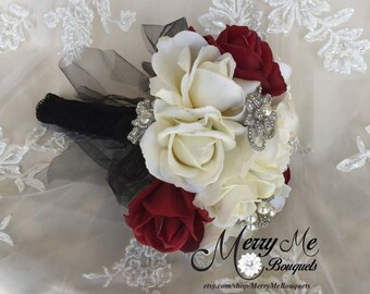 Black Red Bouquet - Red and Black Rose Bouquet - Red Rose Bouquet , Red and Black Bridal Bouquet -True Touch Bouquet - Rose Bouquet