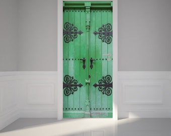 """Door Wall Sticker Ancient green door - Peel & Stick Repositionable Fabric Mural 31""""w x 79""""h (80 x 200cm)"""