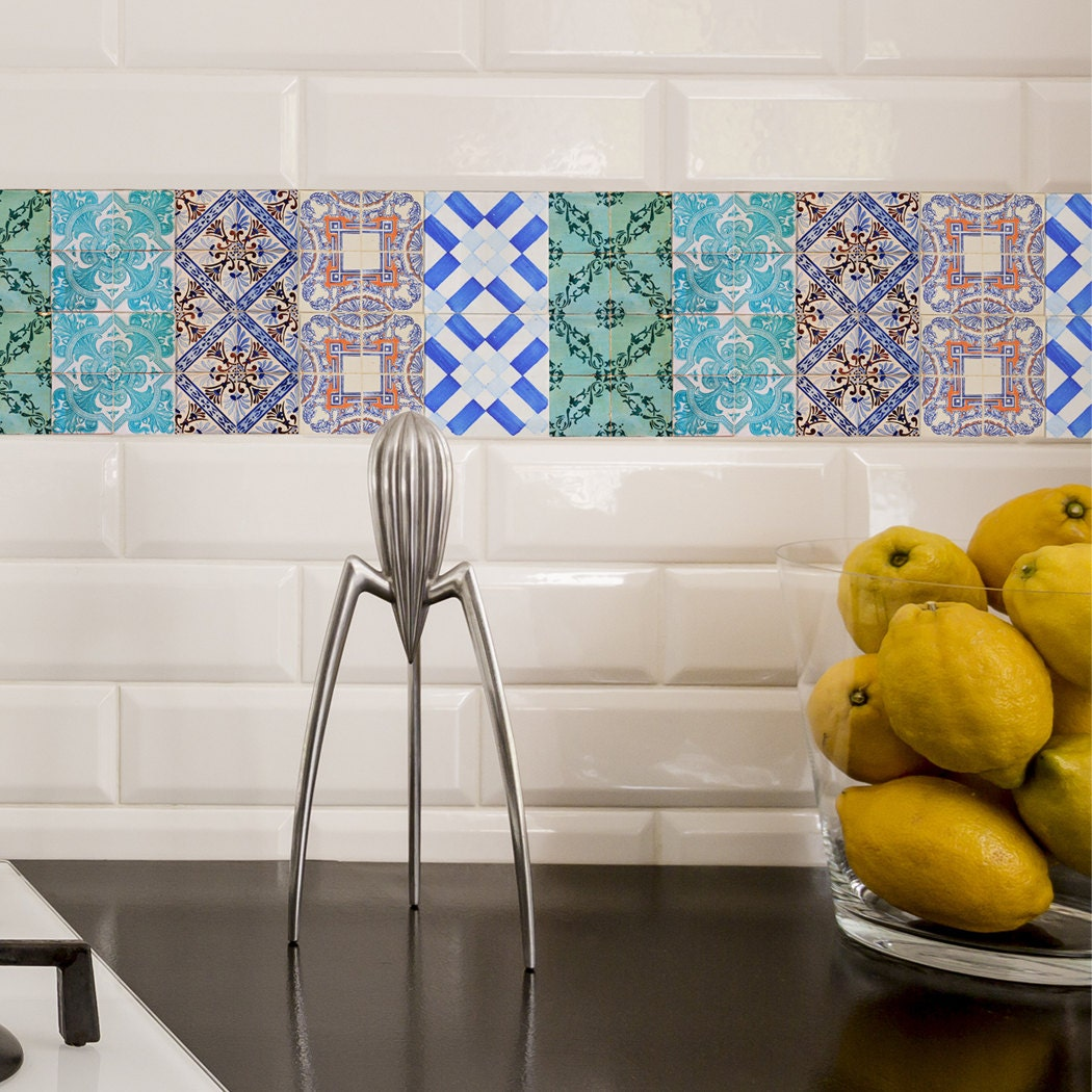 ceramic tile decals for kitchen portuguese tiles stickers maceira pack of 16 tiles tile 8101
