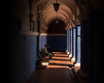 Original photography of Arequipa, Peruvian Monestary, Colourful Fine Art Print, Peru home decor, shadows and pillars, Travel Photography