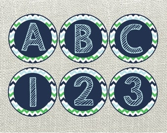 Blue & Green Chevron Printable Banner. Full Alphabet for Birthdays, Baby Showers, Classrooms. Instant Download