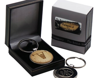 Weight Lifting Wooden Keyring Body Builder Personalised Silver Plated Custom Engraved Keychain Luxury Case Box Gifts for Weight Lifters Gym