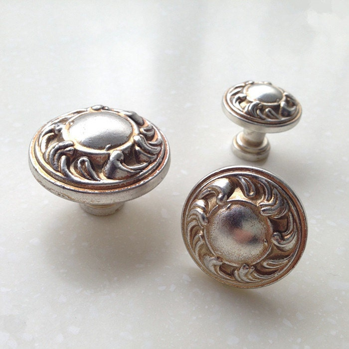 French Shabby Chic Dresser Knobs / Antique Silver Kitchen