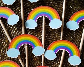 Rainbow Cupcake Toppers, Cupcake Toppers, Rainbows, LGBT, Rainbow Party Decorations, Rainbow Party Supply, Rainbow Birthday, Rainbow Party