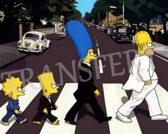DIGITAL COLLAGE / transfer Beatles Abbey Road Simpsons print