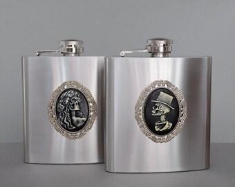 Gothic Bride and Groom Flasks Set of 2 Skeleton Stainless Steel Flask Hip Flask Pocket Flask 6oz Flask Liquor Flask His & Her Wedding Flask