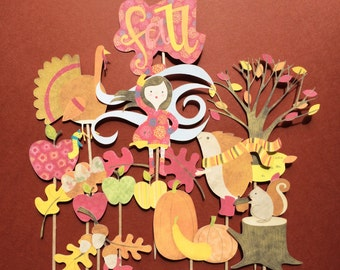 Thanksgiving  cupcake toppers, 12 fall cupcake toppers, Thanksgiving dinner decor, Thanksgiving party, fall cupcake toppers, Turkey toppers