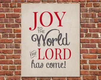 PRINTABLE ART Joy To The World Christmas Typography Art Christmas Decor Printable Art Holiday Wall Decor