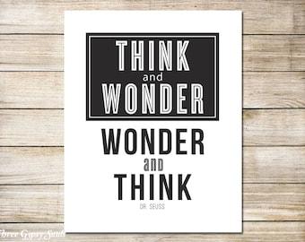 PRINTABLE ART Think And Wonder Wall Decor Classroom Wall Art  Classroom Wall Art Teacher Appreciation Gift