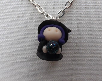 Witch necklace, cute witchy necklace, magic necklace, Halloween necklace, new age necklace, fimo witch necklace