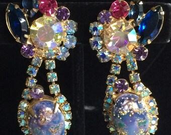 Gorgeous Rare Vintage Juliana D&E Dangle Drop Earrings~ Stippled Blue Purple Easter Egg Cabs/ Rhinestones/ Gold Tone