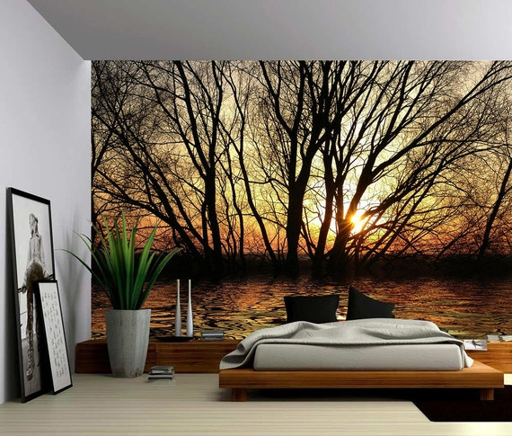 Sun tree autumn forest lake large wall mural self adhesive for Autumn tree mural