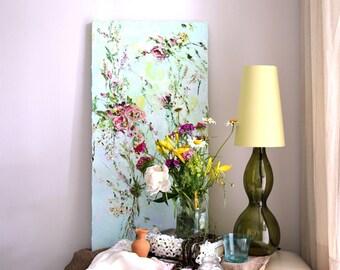 Palette Knife Painting- Oil Painting Original Abstract Flowers on Canvas- Art Nouveau Deco Painting Order- Abstract Flower Painting Art