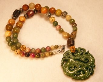 22 in Multi Colored Jade Dragon Pendant and Bead Necklace