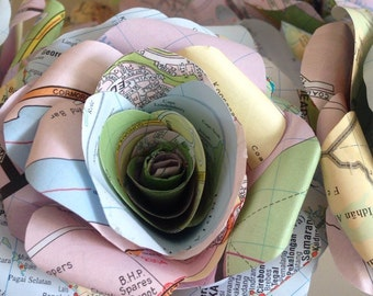 Map Paper Flower Bouquet, Map Paper Flowers, Home Decor, Wedding Flowers, Map Paper Rose