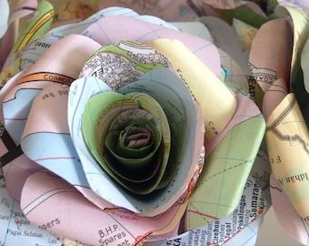 Map Paper Flower Bouquet, Map Paper Flowers, Home Decor, Wedding Flowers, Map Paper Rose